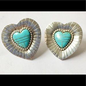 Vintage sterling silver turquoise stud earrings